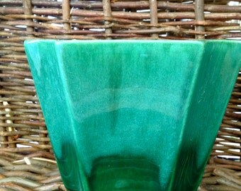 Hagger Pottery- Emerald Green Ombre Vase- Planter- Christmas in July