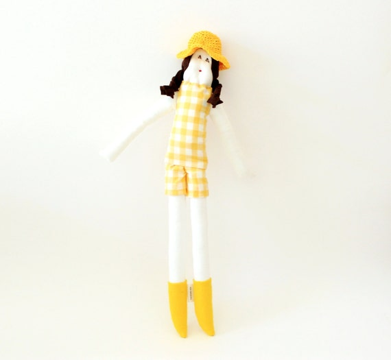Cloth doll Sicrana wool felt brown hair yellow and white check vintage fabric ooak soft toy