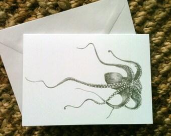 Greetings Card - Octopus Drawing - Blank, 105 x 148mm