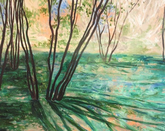 """Archival Print of Original Oil Painting """"Tree in Light with Turquoise"""""""