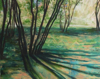 Trees in Dappled Light. Impressionist Painting of Landscape