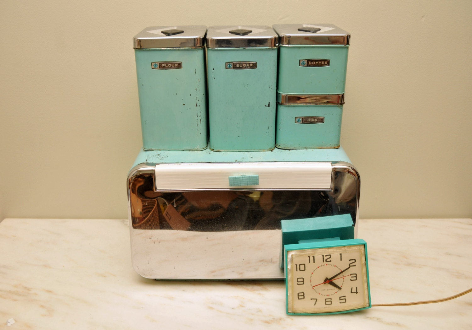 vintage turquoise metal kitchen canister set with by whitepicket