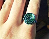 Midnight Blue & Mint Wirewrap Ring