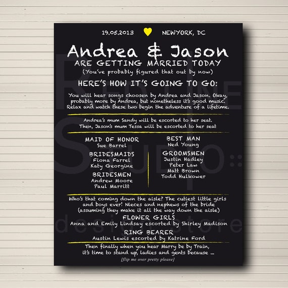 Items Similar To Wedding Program Chalkboard Style