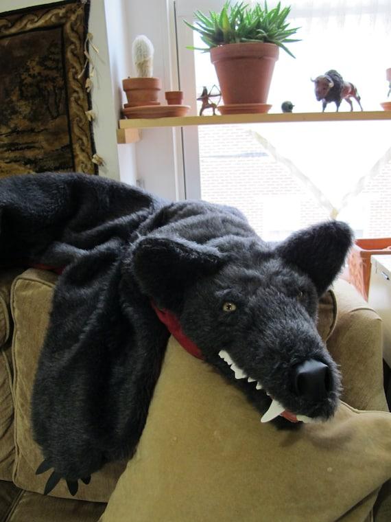 Faux Fur Grey Wolf Hide skin pelt - faux fur down blanket / rug  vegan