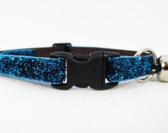 Teal Glitter Cat Collar