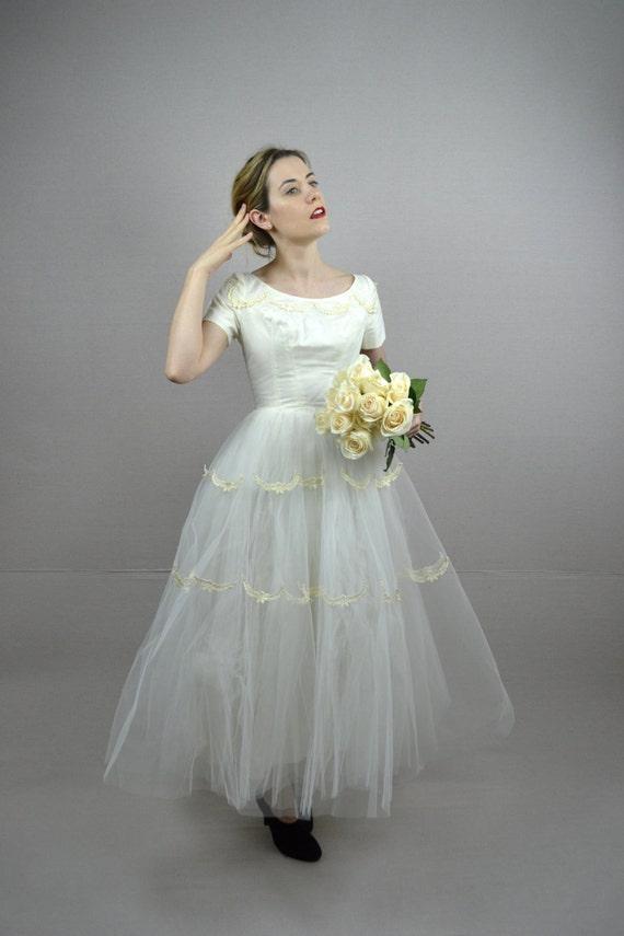 50s wedding dress / vintage 1950s wedding dress / Fiorella