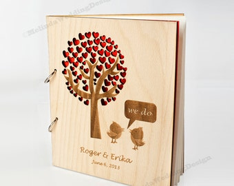 Wedding Guest Book with Birds saying WE DO