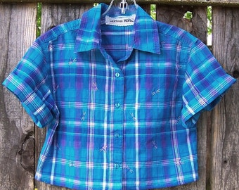 BLUE PLAID SHIRT Crop Top Short Sleeve Paper Thin Cropped Shirt Button Up Embroidered Dragonfies Upcycled blouse cotton Madras size small