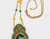 Bead Embroidery Pendant with jasper cabochon