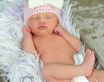 Crochet Bow Hat- Child Size