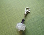 Reserved Alice S. Bead charm, freeform white lampwork bead, dark purple crystals, deco for keychain, purse, zipper pull