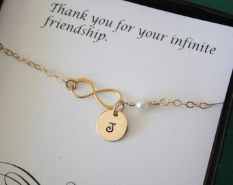 3 Bridesmaid Bracelets Personalized, Infinite Bracelet, Bridesmaid Gift, Bridesmaid Thank You Card, White Pearl, Gold