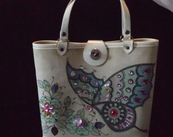 Hand Bag  Enid Collins Texas Vintage  60's Butterfly motif  hand bag Wood bottom