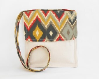 Black Red Grey Zigzag Small Shoulder or Crossover Bag