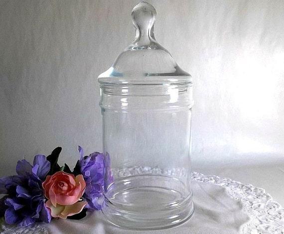 vintage apothecary jar with lid glass jar candy jar vase. Black Bedroom Furniture Sets. Home Design Ideas
