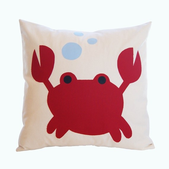 Crab Pillow Cover - Crab Applique Pillow Cover - Kids Pillow Cover