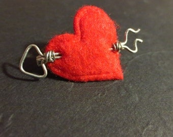 Shot Through My Heart - Mini Felt Heart Brooch