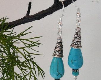 Earrings Turquoise Howlite Teardrop Free Worldwide Shipping