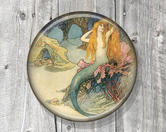 Pocket Mirror - Mermaid Nautical - Photo Mirror - Compact Mirror Vintage Mermaid Illustration - gift under 5 - party favor A136