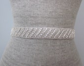 Silver Beaded Rhinestone Diagonal Stripe Wedding Sash / Belt, Bridal Sash