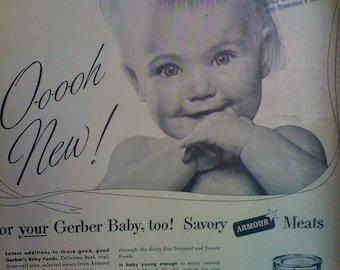 1930s Original Gerber Baby Food Meats Ad by Gerber Vintage Magazine Print Ad Plus Bonus