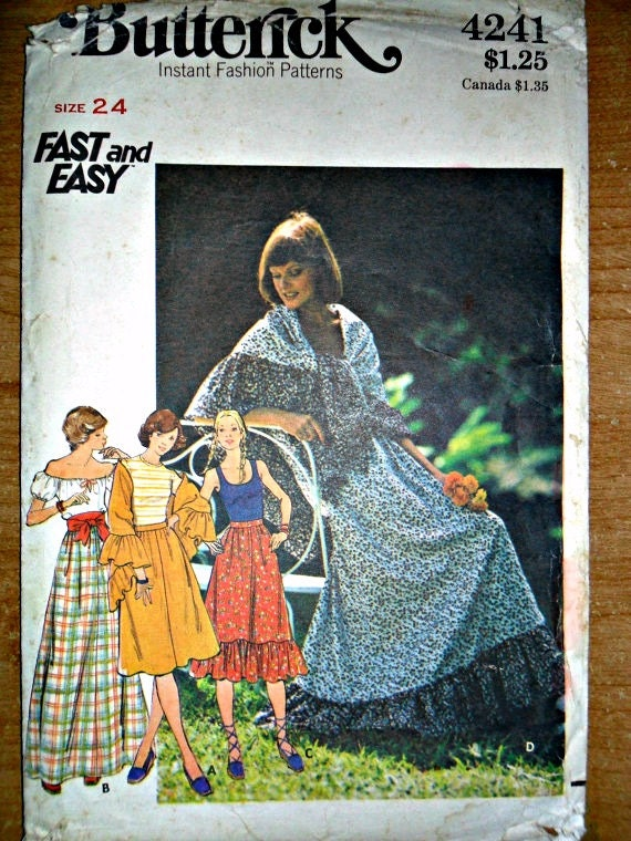 Misses Prairie Skirt in Three Styles and Shawl Vintage Sewing Pattern Butterick 4241 Waist 24