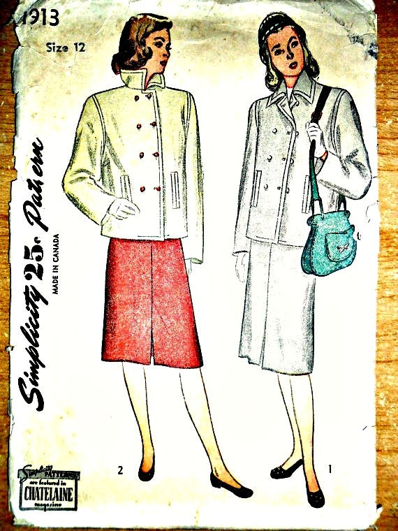 Misses and Junior Misses Double Breasted Jacket Two Piece Skirt Suit Featured in Chatelaine Magazine Circa 1947 Simplicity 1913 Size 12