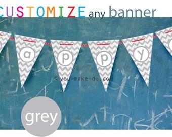 gray baby shower banner gray birthday banner gray party banner gray baby shower decorations gray party decorations 1st birthday banner grey
