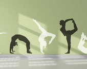 7 Yoga Positions Silhouettes Removable Vinyl Wall Art sticker decal poses class wellness spa business room
