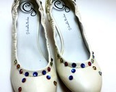 Ivory or bone Womens pump with 2 inch heel swarovski crystals size 9