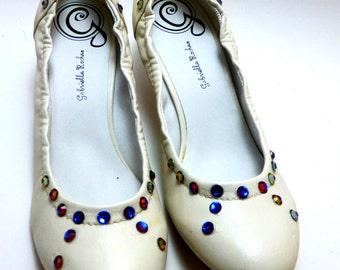 Ivory or bone Womens pump with 2 inch heel swarovski crystals size 9