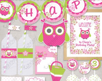 Owl Party - Pink - Printable Party Supplies - Customized PDF files