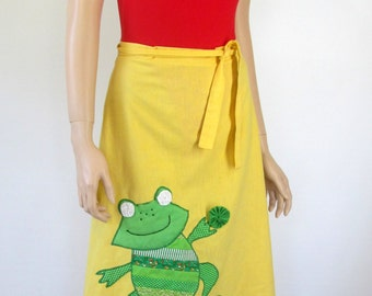 Vintage Hippie Skirt Hippie Wrap Skirt 60's Skirt 70's Hippie Skirt 70's Wrap Skirt Vintage Frog Skirt A2