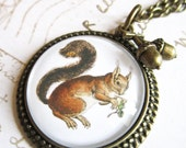Squirrel Cabochon Necklace Vintage