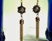 Brass tassel drop earrings. women's OOAK jewelry.