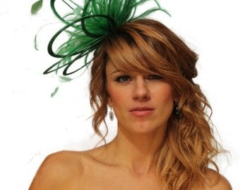 Emerald Green Satin  Feather Fascinator Hat - wedding, ladies day - choose any colour feathers & satin