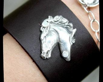 Pure Fine Silver Cowgirl Stallion Leather Cuff