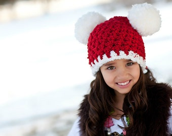 Kids Santa Hat Christmas Hat Girls Santa Hat Boys Santa Hat 4T - Preteen Red White Pom Pom Hat Mouse Ear Animal Ear Hat Christmas Photo Prop