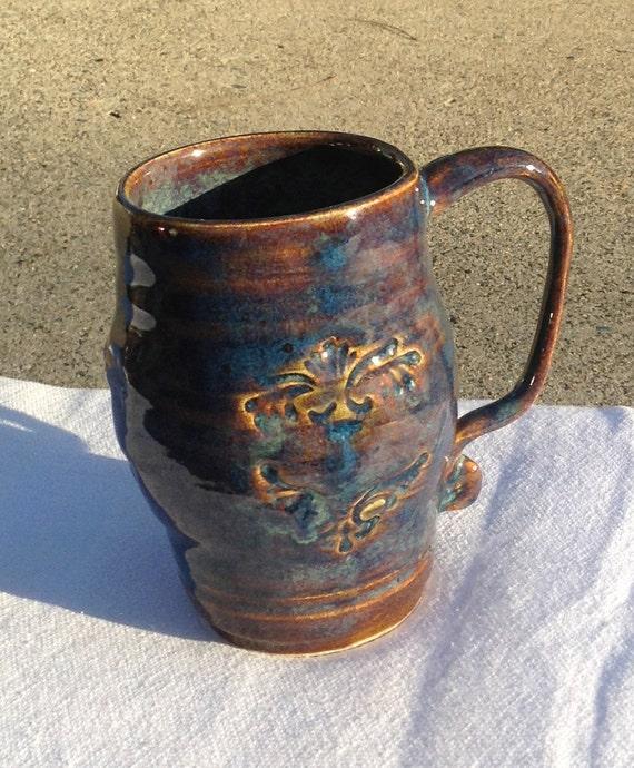 Blue And Amber Coffee Mug Hand Thrown Stoneware Pottery