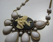 Snake charmer cameo bubble gem statement white necklace large
