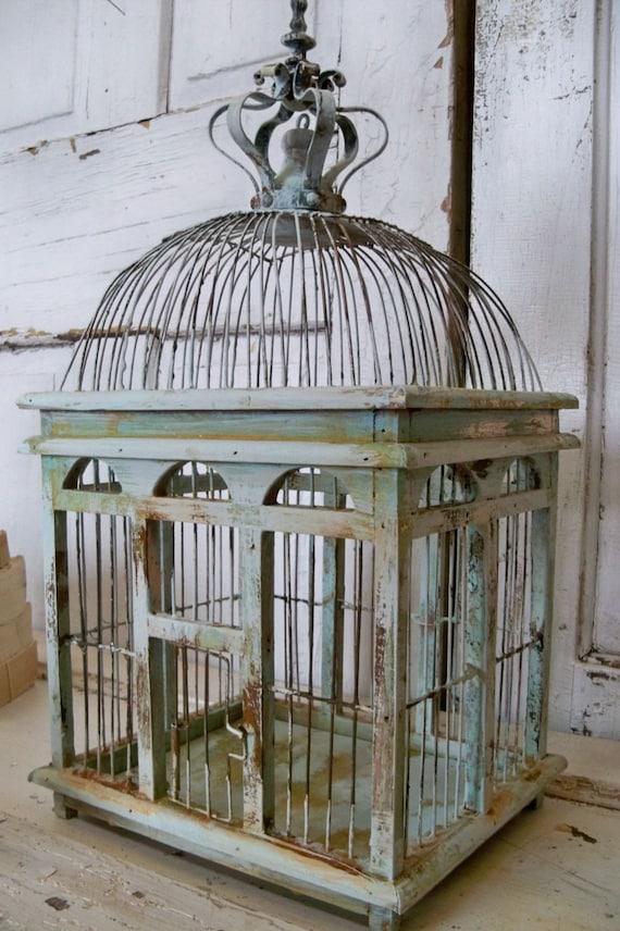 Blue sea foam bird cage distressed rusty rustic metal wood