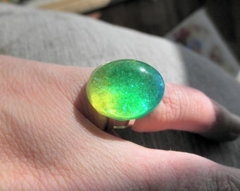 Silver Tone Resin Cabochon Adjustable Neon Ring