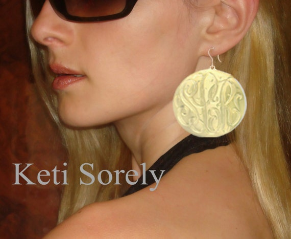 Yellow, Rose or Platinum - Hand Engraved Large Monogram Earrings - Small to Large Size Initials (Order Any Initials)