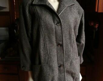 Vintage 70s 80s Ferncroft Oversized Houndstooth Plaid Wool Jacket Coat XS S 4