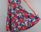 80s Tropical Print Dress// 80s Floral Print Dress// Vintage Tropical Dress