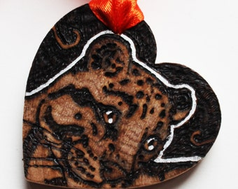 Pyrography Wood Burning -  Clouded Leopard Love Token - Wooden Heart Gift
