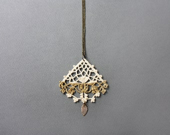Boho necklace gold painted lace pendant