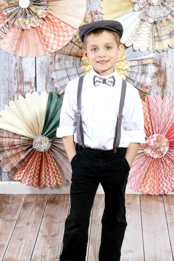 Items Similar To Boys Bow Tie Suspender Set Grey Chevron