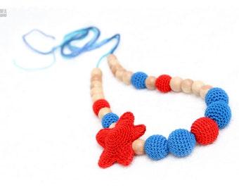 Nursing necklace - Maternity necklace - Organic Juniper jewelry - red amigurumi starfish and blue crochet beads